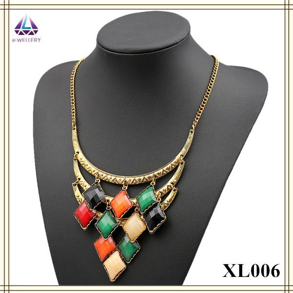 Fashion clear resins bead Necklace simple alloy fake gold jewelry choker necklaces(China (Mainland))
