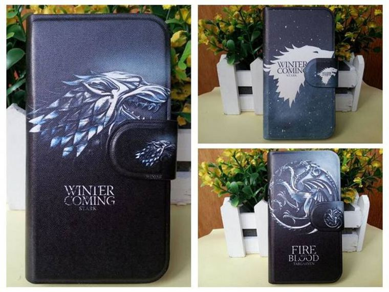 Hot Game of Thrones Black Wolf Winter Style PU Leather Flip Case Cover for Samsung Galaxy S5 G9006 G9009D G9009(China (Mainland))
