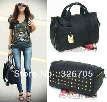 100% Rivets decoration handbags fashion women bags messenger bag Soft Handle Medium Clutch Shoulder Ladies Casual Bag