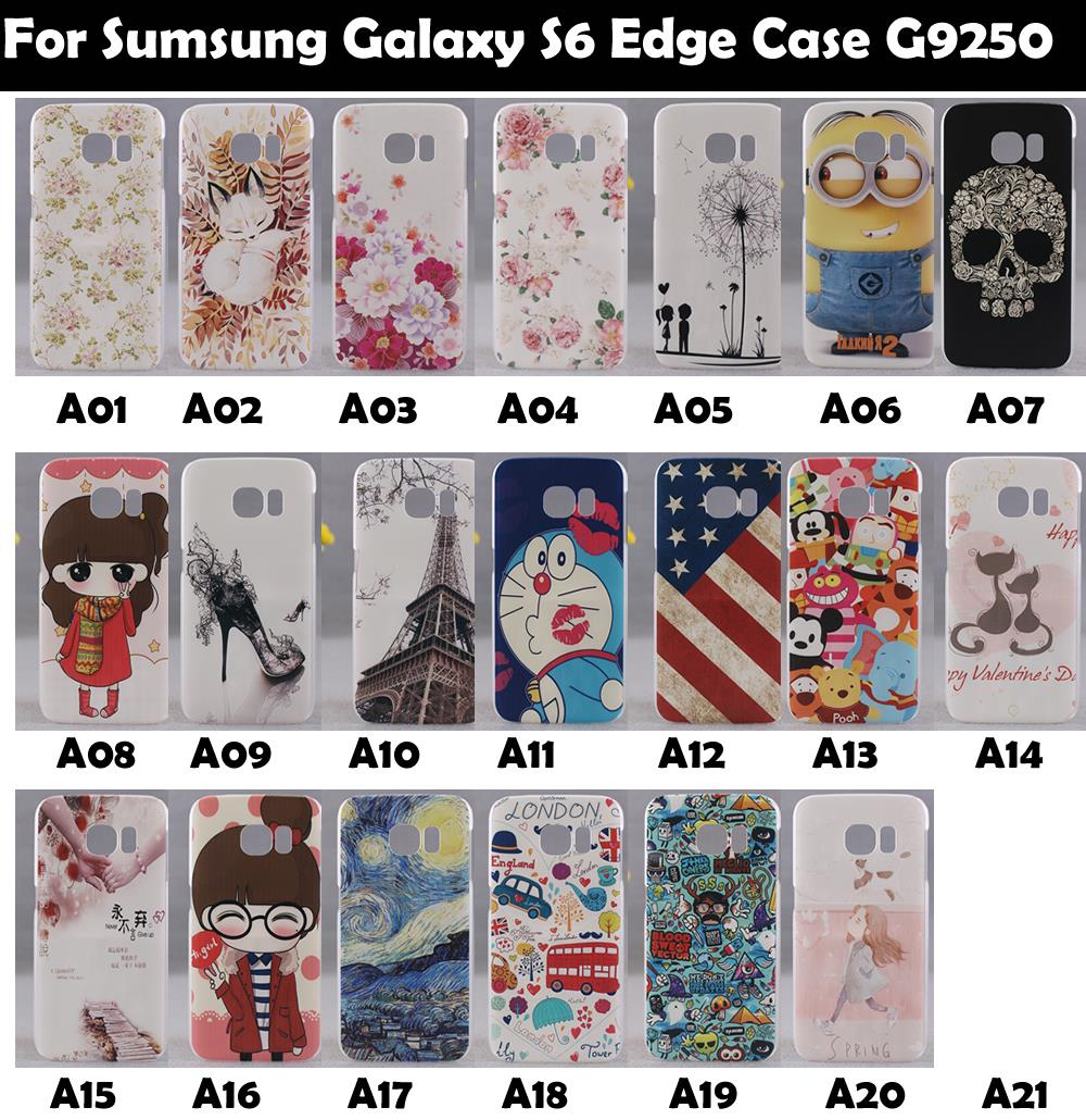 Hard Plastic PC Cover Case For Sumsung Galaxy S6 Edge Case G9250 Supper Rose Flowers Tower Man Cat Girl Flat Skull(China (Mainland))
