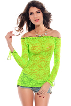 WomensDate 2016 New Arrival Autumn Women Lace T-Shirt Long Sleeve Lace Smock Sexy T-Shirts For Women Night Club Party