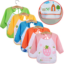 EVA Cartoon Cute Baby Bibs Toddler Boy Girl Waterproof Long Sleeve Burp Cloths Children Feeding Eating Smock