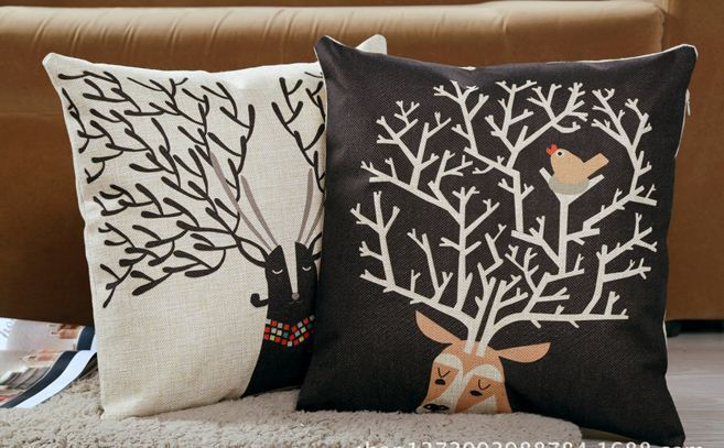 Shabby Chic Deer Pillow : Christmas cushion covers decorative bird deer antlers throw pillows cases santa claus sofa ...