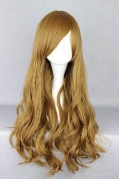 Long Deep Curly Light Brown Oblique FringeLolita Cosplay Wig