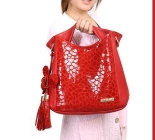 2012 women's handbag fashion flower tassel cowhide