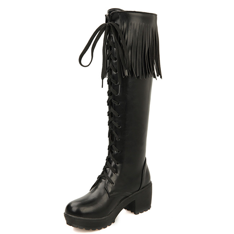 Big size 34-43 New  Vintage Thick Heels Knee High Boots for Women Fashion Platform Tassle Shoes Lace Up Motorcycle Boots<br><br>Aliexpress
