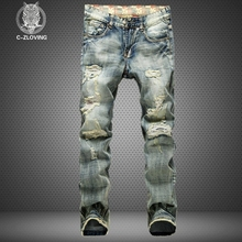 2016 men's new hole retro jeans worn denim trousers fashion men straight jeans  stitching multi hole and the wind wash jeans(China (Mainland))
