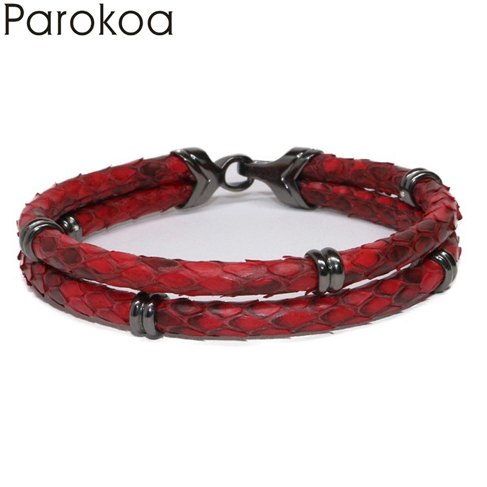 Latest New Design Python Leather Bracelet Snake Leather For Watch Lover Red Genuine Leather For Women