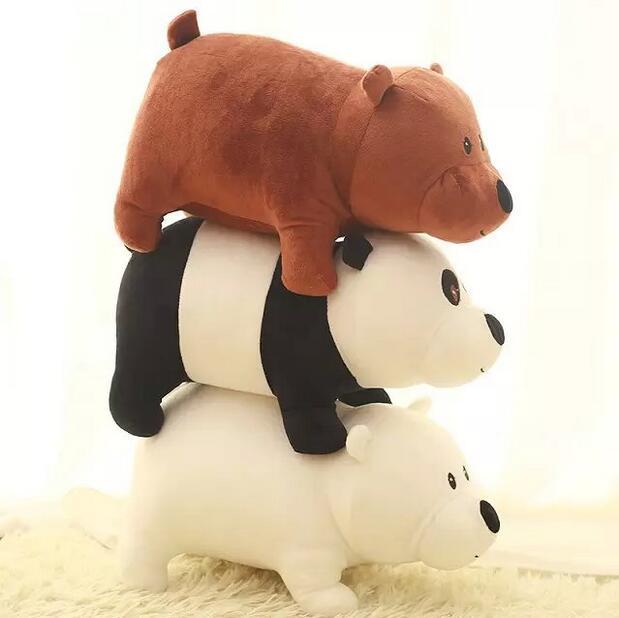 1pcs 25cm We Bare bears Cartoon Bear , grizzly gray white bear panda stuffed plush toy doll, doll birthday gift,kids toy(China (Mainland))