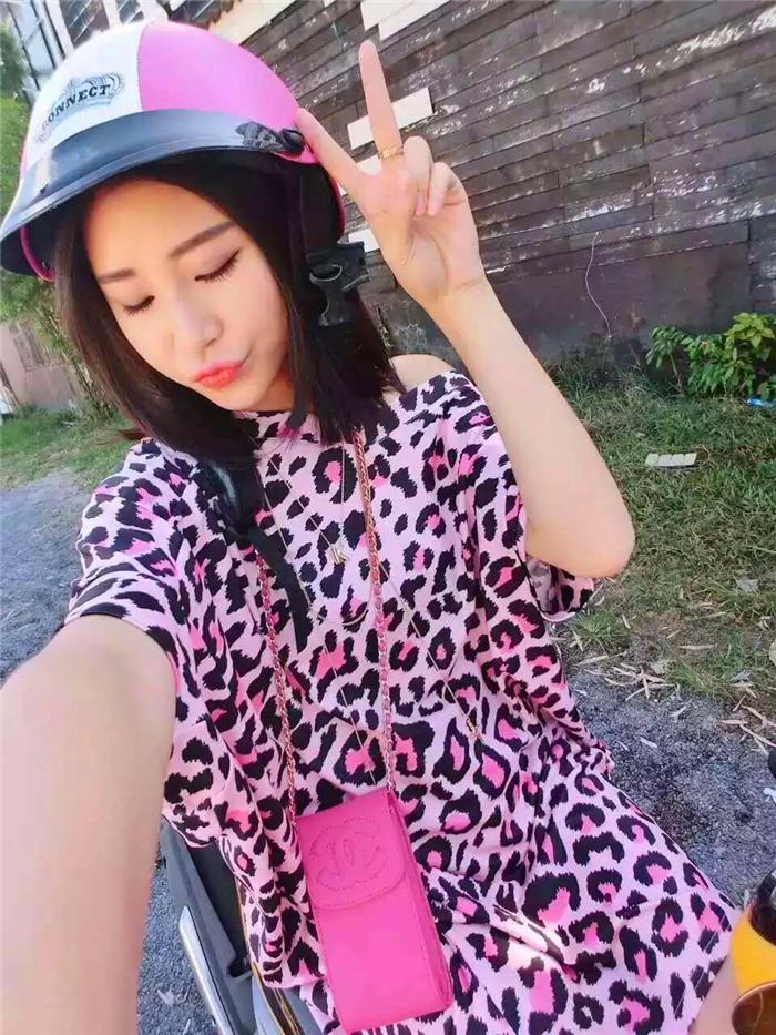Fashion Dress Women Summer Style Print Pink Leopard Childlike Cartoon Graffiti Strapless Loose Dress Short Sleeve(China (Mainland))