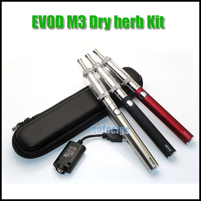 EVOD Battery M3 Dry Herb WAX atomizer Electronic cigarette Kit zipper case for EGO vision spinner Twist battery vaporizer tank(China (Mainland))