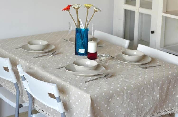 Lace Linen Table Cloth Flower Cherry Pastoral Country Style Multifunctional Tablecloths Table Cover(China (Mainland))