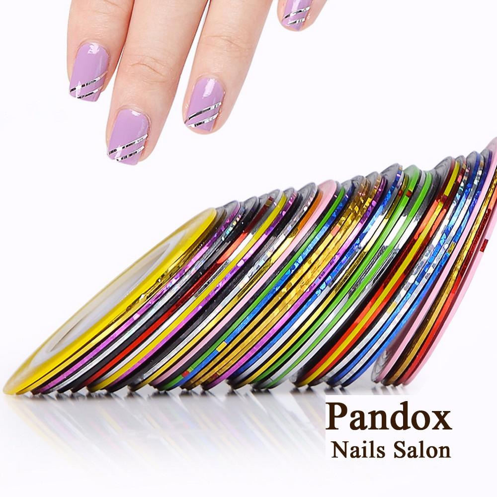 Pandox Striping Tape Line Nail Art Tips Decoration Sticker Nail 10pcs Mixed Colors Nail Rolls Striping Tape Line DIY For Nail