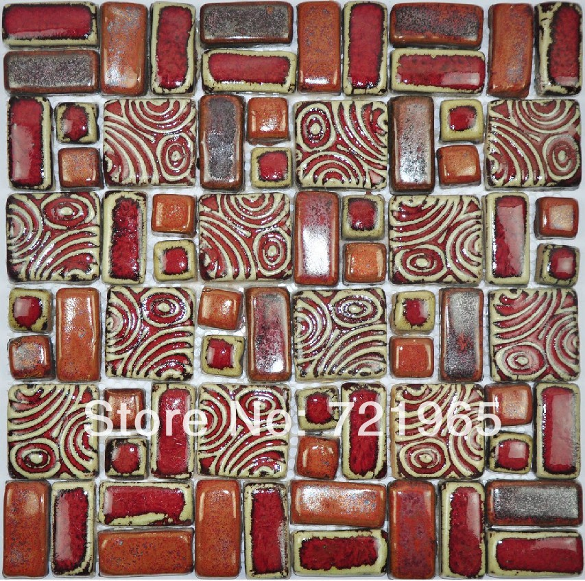 Hand Craft Red Porcelain Mosaic Tiles Backsplash Kitchen