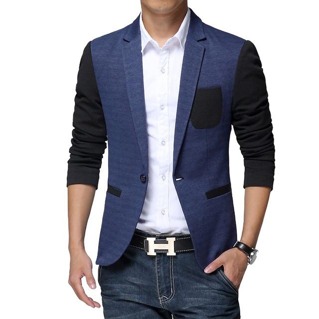 2016 весной бренд одежды мужской пиджак пиджак одной кнопки с длинным рукавом лоскутная ...
