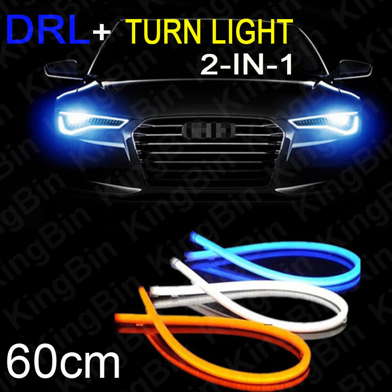2pcs/Lot 60cm DRL Flexible LED Tube Lights Strip Daytime Running Lights Decorative Light Turn Signal - Changeable(China (Mainland))