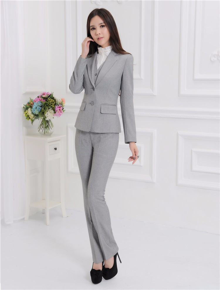 Novelty Grey Formal OL Styles Autumn And Winter Professional Business Suits 3 pieces With Jackets + Pants + Vest Trousers Sets