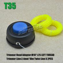 T35 M10 * 1.25 izquierda rosca TAP N GO cabezal de corte desbrozadora con 2 unids 2.4 MM X 10 M luz giro amarillo de la línea de corte