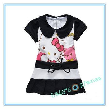 brandnew freeshipping hello kitty  girl dress / tennis dress/cartoon clothing/ 5pcs/lot hotsale black