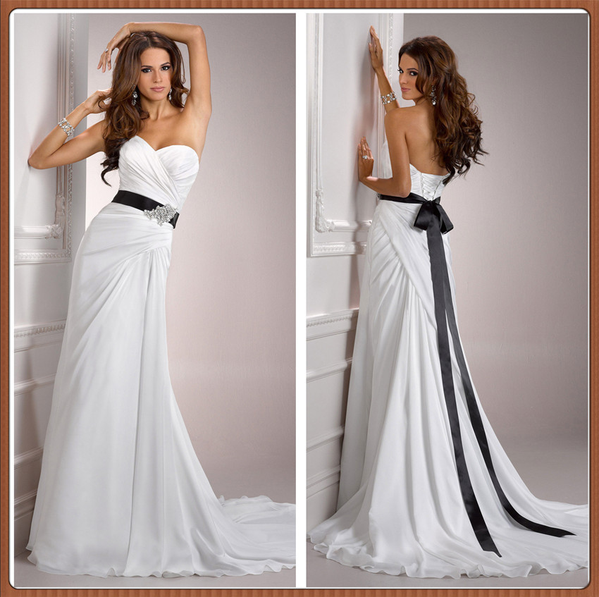 Chinese online store 2015 strapless pleated chiffon with for Satin belt for wedding dress