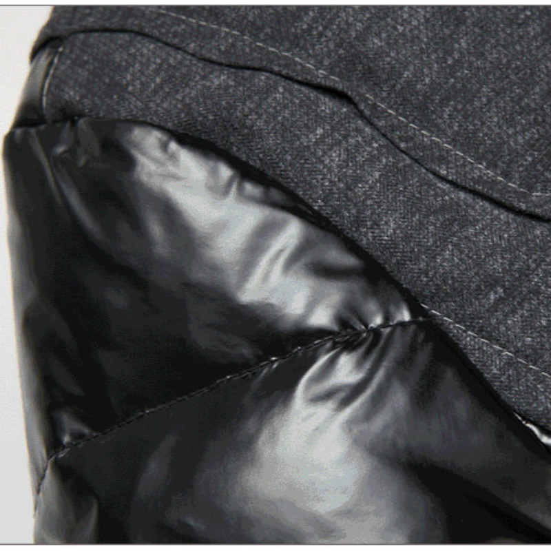 2015 Men s Casual Cotton Padded Coat W hood Patchwork PU Sleeve Mens Winter Jackets And