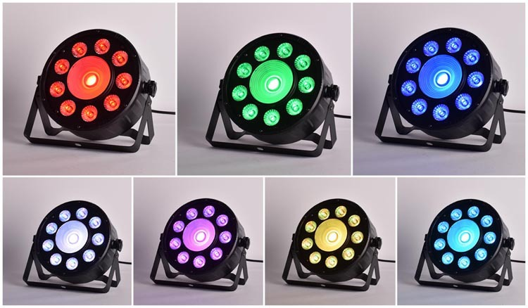Hot 2015! 7 Colors! LED party dj light Stage Light High Power RGB Par Light With DMX512 Master Slave Led Flat Controller(China (Mainland))