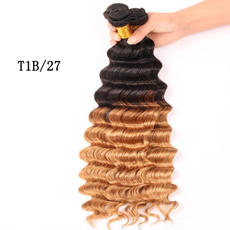 Hot Sale 6A Cheap Malaysia  Virgin Hair Deep Wave Ombre  Deep Curly Human Hair Weaves Black Queen  Hair Product 6 Colors   L12