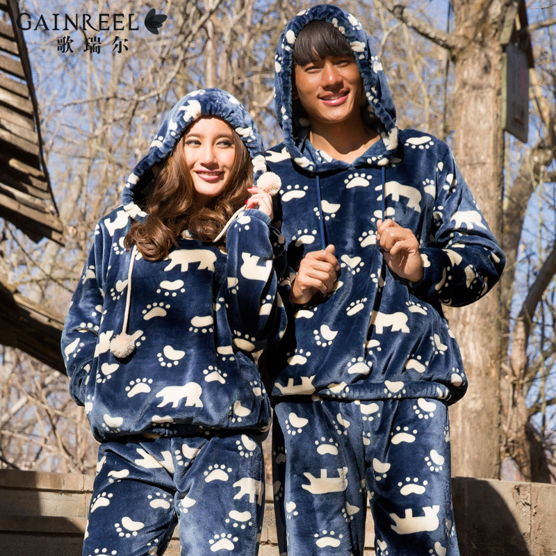 Song Riel autumn and winter flannel pajamas cartoon couple male and female thick hooded tracksuit suits