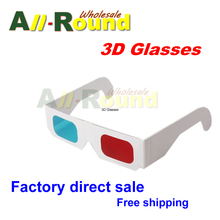 Cheap wholesale 3000pcs/lot, White Paper Children Red Cyan Blue 3D glasses For 3D movies,games Support Drop Shipping,HOT SALE(China (Mainland))