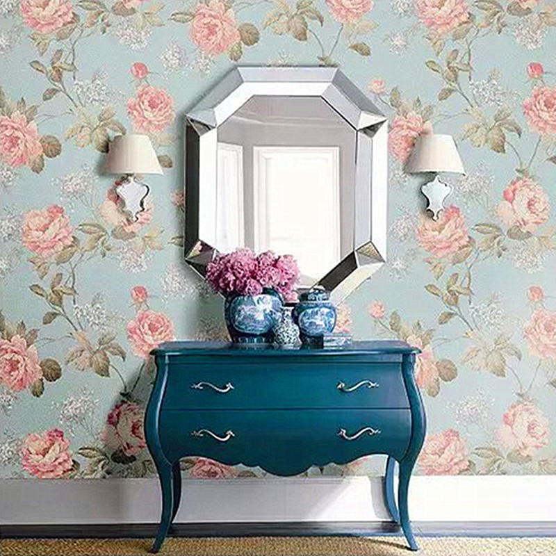 Douz pvc wallpaper papel de parede de luxo pastoral para for Wallpaper sala de estar
