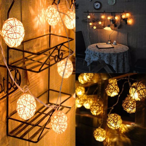 Rattan Ball Lamp Led Warm White Sepak takraw 4M 20 LED String Fairy Lights for Christmas/Party/Wedding/Bedroon/Living Room(China (Mainland))