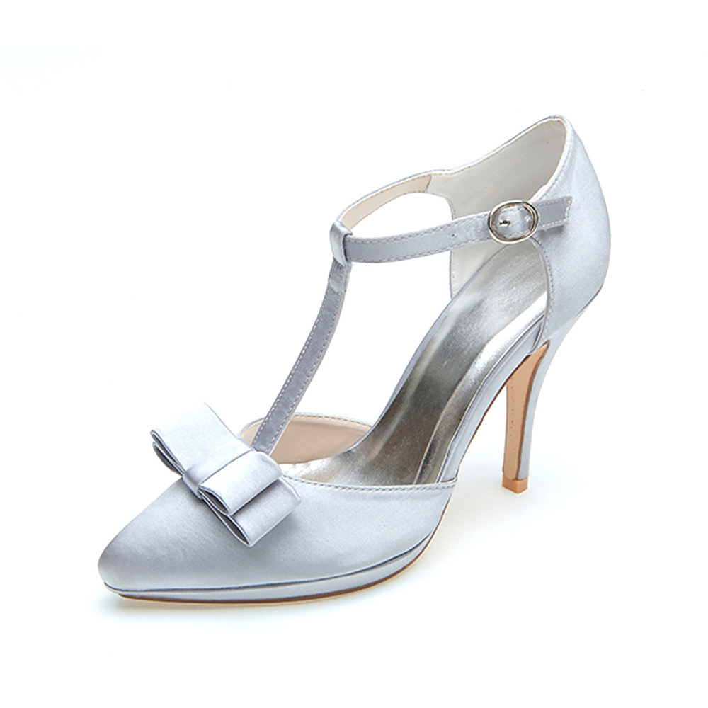 Silver High Heel Wedding Shoes