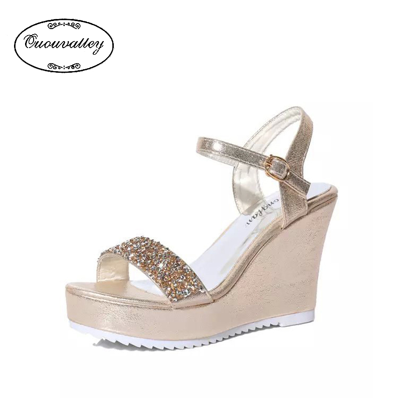 Hot Selling 2016 Fashion Sandals Womens High Heel Crystal Wedge Platform Sandals Ankle Flip Buckle Strap Shoes(China (Mainland))
