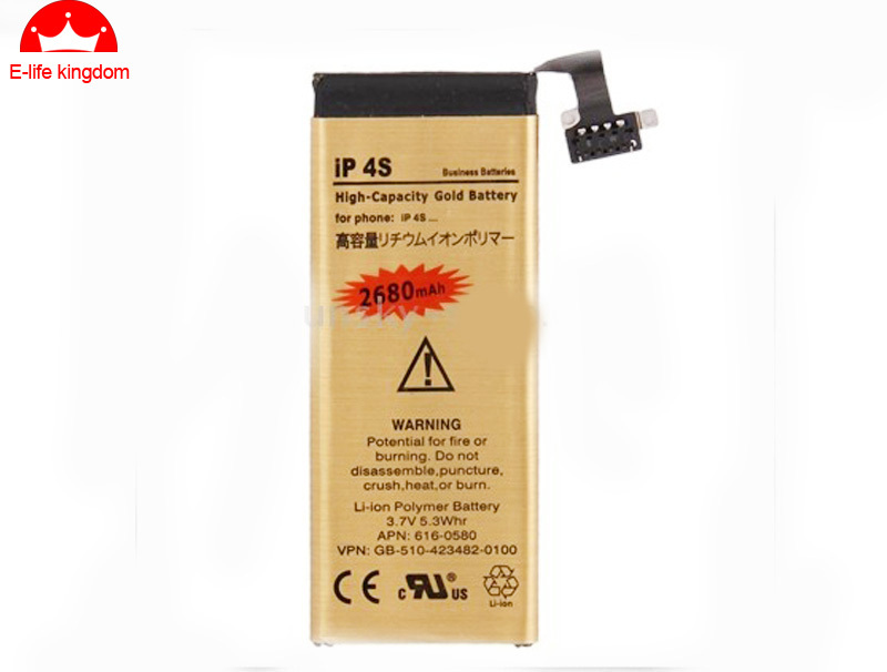 High Capacity 2680MAH Gold Replacement Battery For iphone 4S Lithium Polymer with tools and free shipping