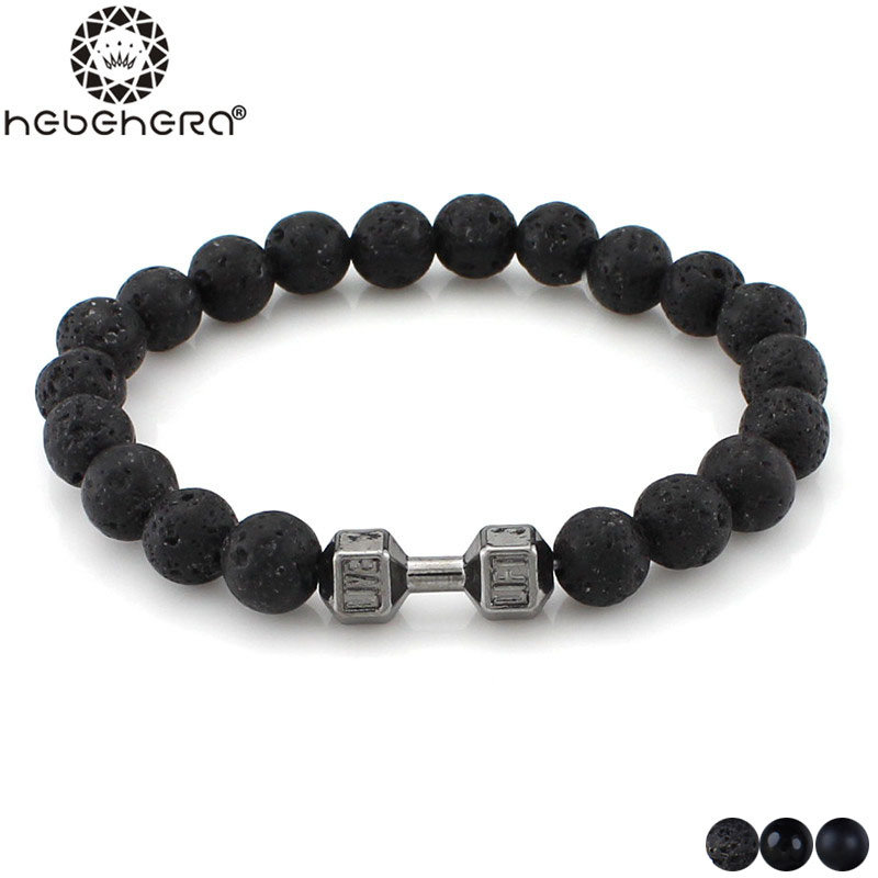 Hot Natural Weathering Lava Stone Alloy Metal 14K Gold Barbell Jewelry Volcano Prayer Beads Fitness Fit Life Dumbbell Bracelets(China (Mainland))