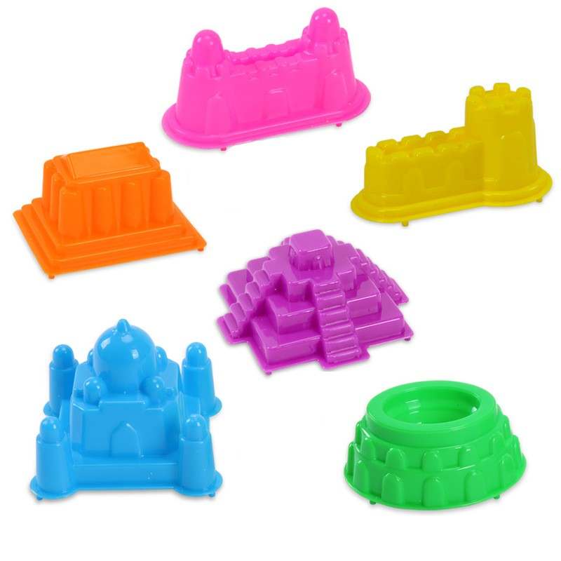 6Pcs/Set Castle Sand Clay Mold Portable Baby Children Kids Educational Mould Toys Building Sights Sandcastle Beach Sand Toys(China (Mainland))