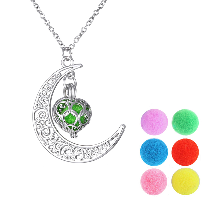 Hot sale Aromatherapy Locket Jewelry Popular Perfume Necklaces For Women Silver Plated Long Chain Moon Slide Pendant Necklaces(China (Mainland))