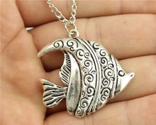 Buy WYSIWYG 2 colors antique silver, antique bronze color 35*39mm big Tropical Fish pendant necklace,70cm chain long necklace for $1.15 in AliExpress store