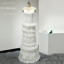 Buy Line Sweetheart Tiered Floor Length Backless Lace Boho Wedding Dress Open Back 1960s Vintage Bridal Wedding Gown for $196.00 in AliExpress store