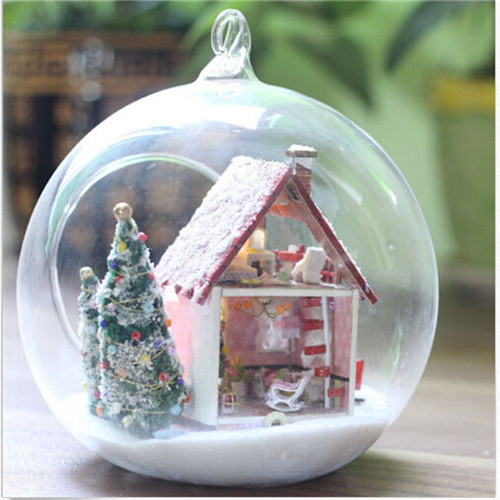 [해외]DIY 유리 인형 집 크리스마스 SnowmanVoice 제어 빛 X- 마..