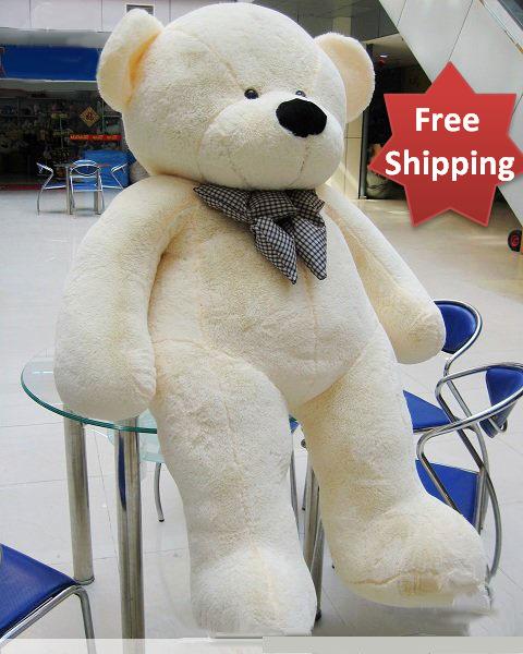 Giant Teddy Bear 230 cm Stuffed Plush Teddy Bear Toy White Best Valentine Gift For Girlfriend(China (Mainland))