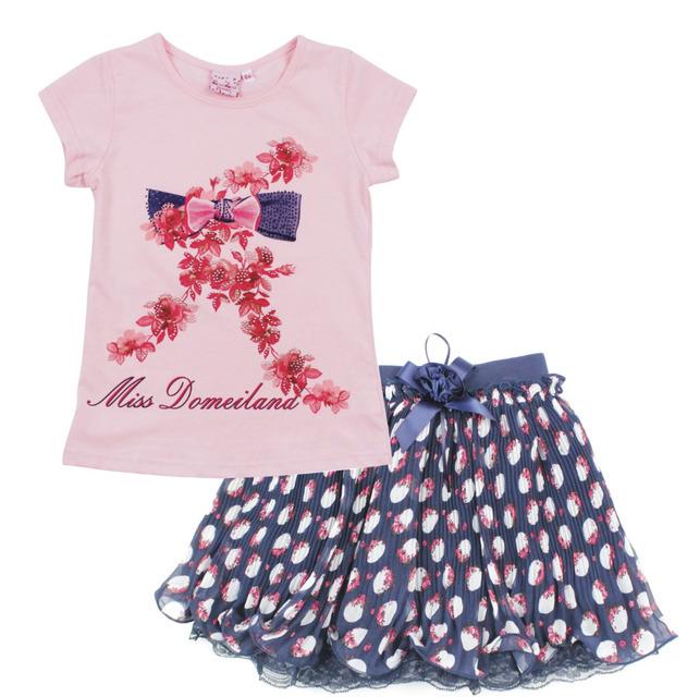 2016 мода лето МИСС BLUMARINE детская одежда костюмы устанавливает милые девушки ...