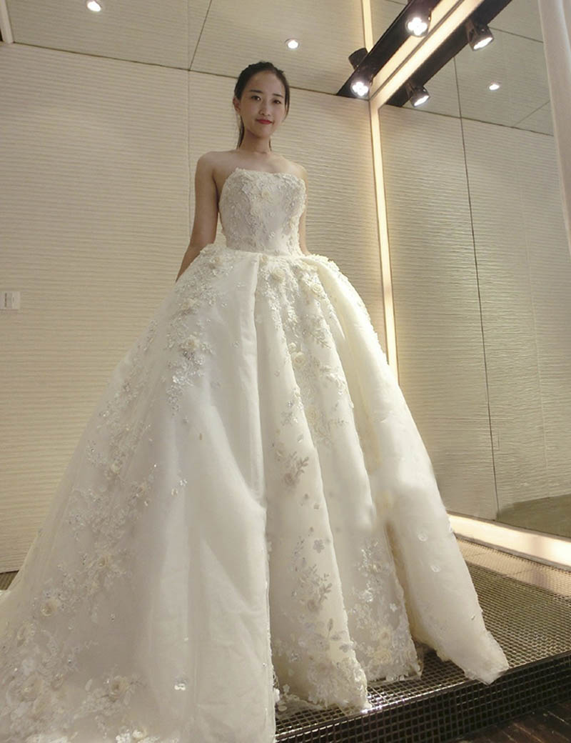 Buy luxury cathedral train ball gowns for Best stores for dresses for weddings