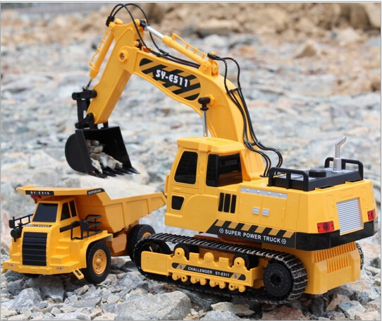 The best kids toy large RC car remote control engineering truck excavator wireless rc excavator toy car digging machine boy toys(China (Mainland))