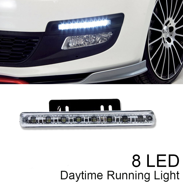 2015 New 8LED Car Styling Daytime Running Light Driving DRL Car Fog Lamp Waterproof White DC 12V Free shipping&Hotsale(China (Mainland))