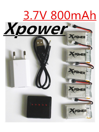 5pcs Xpower 3 7v 800mAh Lipo battery and USB charger with plug for syma X5C V391