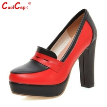 Size 33-43 Brand Color Mixed Square High Heels Women Party Wedding Shoes Fashion White Red Platform Pumps(China (Mainland))