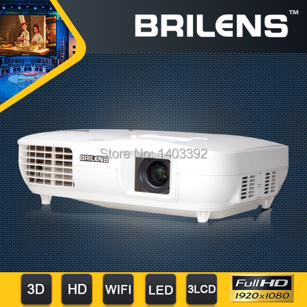 Brilens 3000Lumens Support 3D/WIFI Brand Projector,1920x1080P Native HD 3LED 3LCD Projector Blueray Full HD Movie Proyector(China (Mainland))