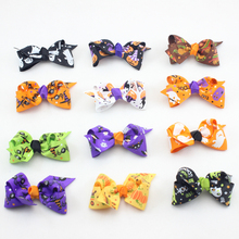 New Halloween Hair Bow with Clip for Baby Hair Accessories Boutique Pumpkin Hair Bow Halloween Hair Accessories 30pcs/lot(China (Mainland))