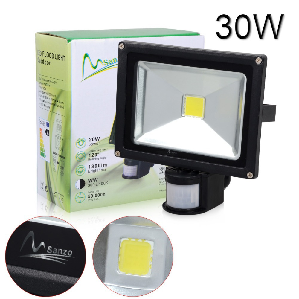 30w led pir sensor motion floodlight flood light garden outdoor lamp. Black Bedroom Furniture Sets. Home Design Ideas